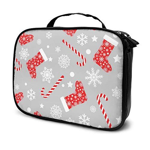Sacs à cosmétiques pour les femmes voyagent, modèle sans couture avec chaussettes de Noël bas rouge et blanc étui à crayons