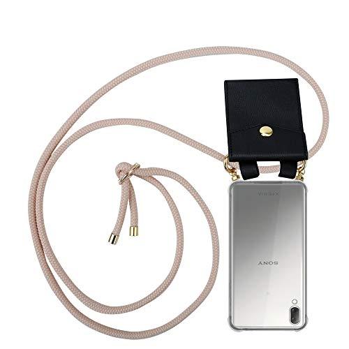 Cadorabo Handy Kette für Sony Xperia L3 in PERLIG ROSÉGOLD - Silikon Necklace Umhänge Hülle mit Gold Ringen, Kordel Band Schnur & abnehmbarem Etui – Schutzhülle