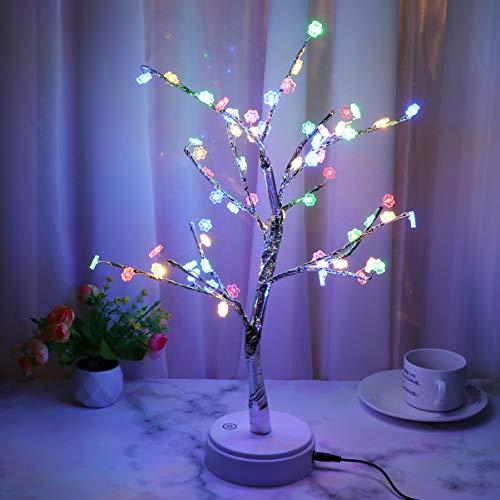 Uonlytech - Lámpara de Escritorio con Forma de árbol y Flores de Ciruelo y luz de Alambre de Cobre para el Dormitorio Principal, decoración navideña