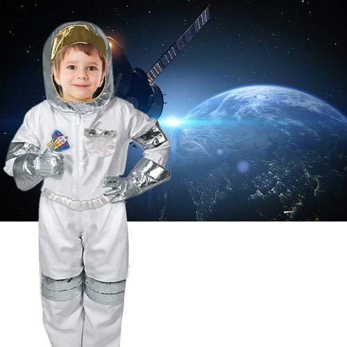 Brownrolly Disfraz de astronauta para nios con camiseta, pantalones, guantes, casco para nio, regalo de cumpleaos de 3 a 7 aos