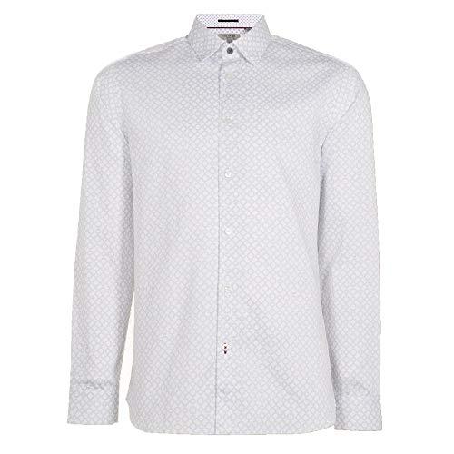 Ted Baker Whonos LS Geo - Camisa estampada, color blanco