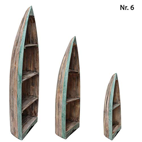Oriental Galerie Boot Regal Wandregal Standregal Aufbewahrung 95 cm Albesia Holz Braun Grün Nr. 6