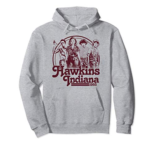 Netflix Stranger Things Hawkins Indiana Group Shot 1985 Felpa con Cappuccio