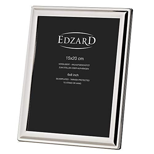 EDZARD Bilderrahmen Terni für Foto 15 x 20 cm, edel versilbert, anlaufgeschützt, mit Samtrücken, inkl. 2 Aufhängern, Fotorahmen zum Stellen und Hängen