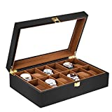 baskiss 12 slots watch box for men, solid wood watch display storage case jewelry organizer with