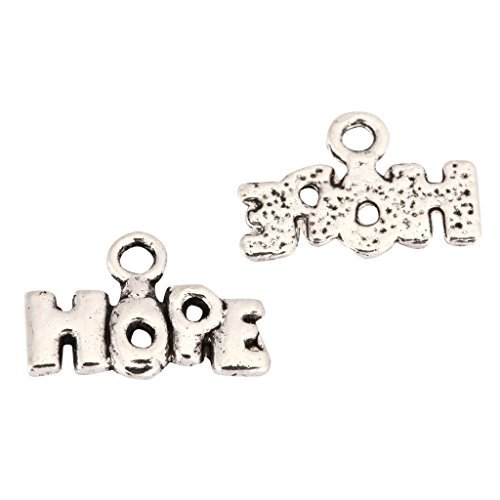 20pcs Hope Charms 8x5mm Antique Silver Tone | One Sided Charm Pendants for Gemstone Necklace Bracelet Earrings Keychain Mala Yoga Jewelry Craft Making MCZ1158