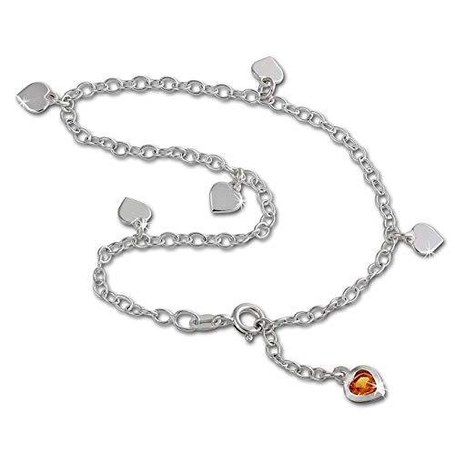 SilberDream Fußkette für Damen 925 Silberschmuck Herz Zirkonia 25cm SDF2015Y