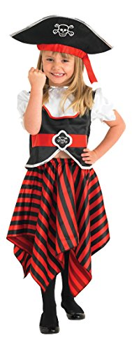 Rubie's 883620S Official Toddler Girl's Little Lass Pirate Kostüm, Mehrfarbig, 3-4 Jahre