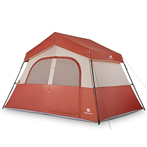 TOMOUNT 5 Person Tent - Easy & Quick Setup Camping Tent, Professional Waterproof & Windproof Fabric, 3 Large Mesh for Ventilation, Double Layer, Lightweight & Portable with Carry Bag, Red