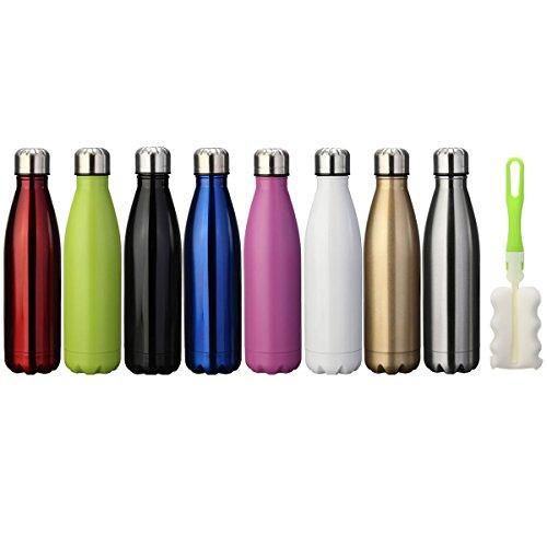 king do way Doppelwandige Edelstahl Trinkflasche Isolierflasche, 500ml BPA Frei Thermobecher, Thermosflasche Sportflasche Bottle Auslaufsichere Flasche für Sport, Outdoor, Camping, Büro (Grün)