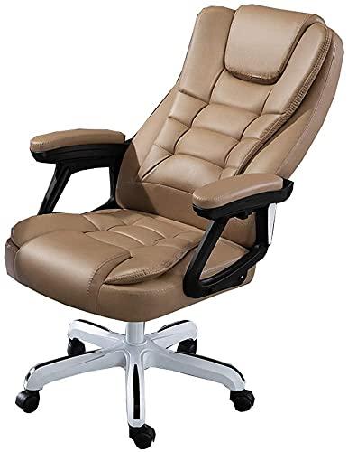 EPYFFJH Silla de Oficina ejecutiva con reposabrazos y Ruedas Mesas y sillas Ergonómico 145 ° Respaldo Tilt PU Silla de computadora de Carga 150 kg (Color: Negro) (Color : Khaki)