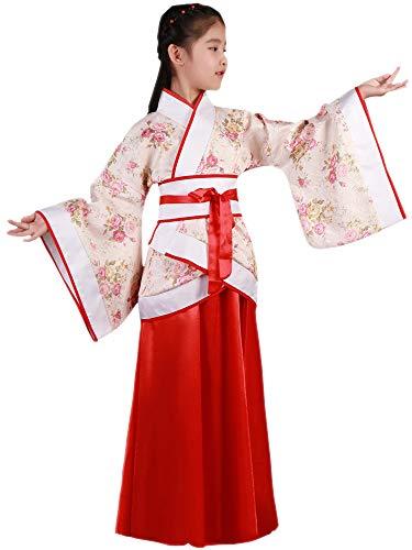 KINDOYO China Hanfu - Trajes Tradicionales de la Etapa de los Niños Rojos de Hanfu de Las Muchachas,Rojo (Estilo 3),EU 140=Tag 150