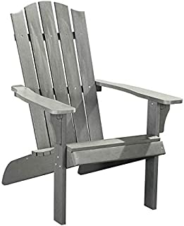 PolyTEAK Element Faux Wood Poly Adirondack Chair, Gray   Adult-Size, Weather Resistant, Made from Special Formulated Poly ...