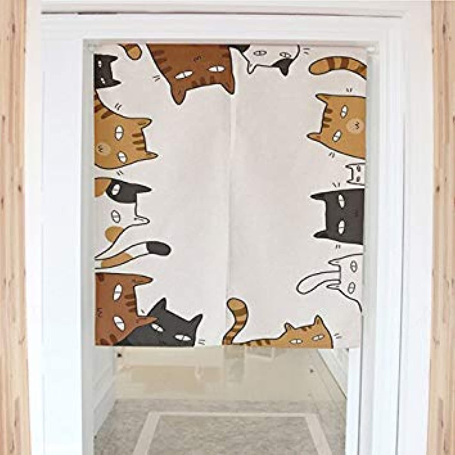 1Pc Style Funny Cats Dimidiate Door Curtain Cotton Linen Household Partition Bedroom Kitchen Door Curtain 80X90Cm