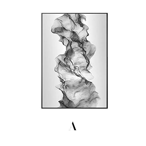 KXKY Abstracto negro blanco acuarela lienzo pintura kartels e impresiones decoración moderna hogar pared arte cuadros para sala de estar 40x65cm No frame A