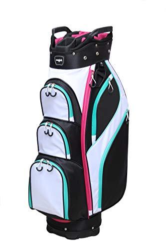 Majek Premium Ladies Black White Teal Pink Golf Bag, Full Length Dividers with Putter Sleeve