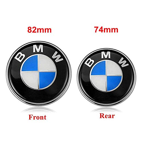 BMW Emblems Hood and Trunk, 82mm + 74mm BMW Logo Replacement for ALL Models BMW E46 E30 E36 E34 E38 E39 E60 E65 E90 325i 328i X3 X5 X6 1 3 5 6 7