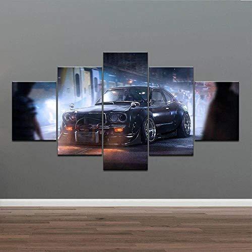 VKEXVDR 5 Partes decoración de Paredes Moderna Coche Deportivo Negro Caliente HD Impresión Foto 200 * 100Cm Regalo para Salon,Dormitorio,Baño,Comedor Decoració