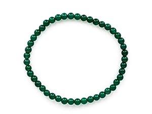 Taddart Minerals – Grünes Armband aus dem natürlichen Edelstein Achat mit 4 mm Kugeln auf elastischem Nylonfaden aufgezogen – handgefertigt