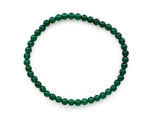 Taddart Minerals Pulsera de piedra preciosa natural de ágata verde con bolas de 4 mm colocadas en hilo elástico de nailon – Hecho a mano