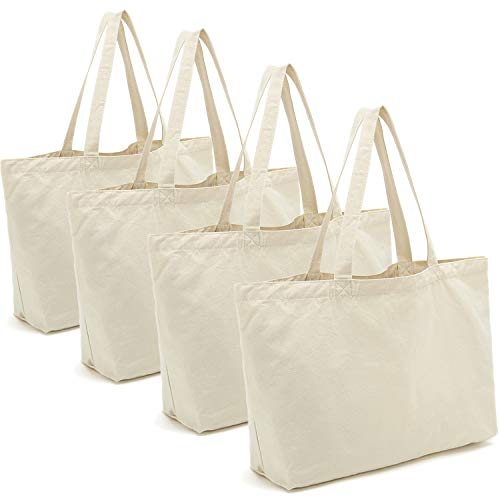 Cotton Canvas Tote Bags DIY Crafts Blank Plain Natural Canvas Bag,Great Wedding Gift Canvas Craft Bags,12.2'W x 13'H,4pcs