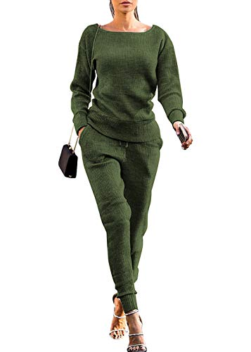 VNVNE Womens Fall Rib-Knit Pullover Sweater Top & Long Pants Set 2 Piece Outfits Tracksuit (Green, L)