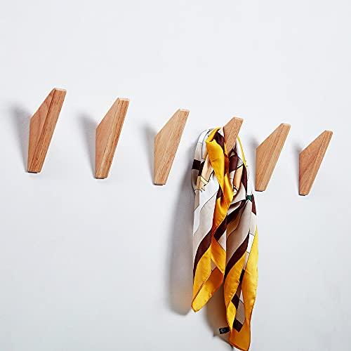 Gabriera 6 delar naturlig trärockskrok väggmonterad enkel hattväska handduk kläder halsduk hängare ställning modern dekorativ väggdekor för entré vardagsrum