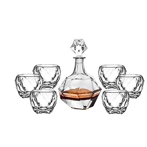 HLR Vasos de Whisky Jarra de Whisky Whisky Decanter Whisky Decanter and Glasses Set Lead Free Glass Whisky Decanter Unique Elegante Perfectamente Regalo