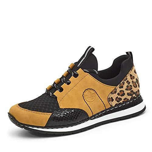 Rieker Damen N3083 Sneaker, Honig/schwarz/schwarz/Natur/schwarz 68, 41 EU