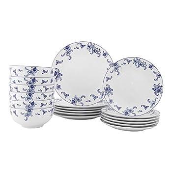 FIGULARK 18-Piece Dinnerware Set for 6 Blue Willow Ceramic Unbreakable Kitchen Plate Bowl Set for Dinner Salad Dessert Microwave & Dishwasher