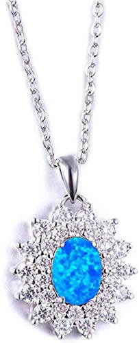 Female Big Oval Pendant Necklaces Crystal Silver Color Necklace Blue White Fire Opal Necklaces