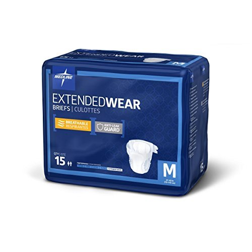 Medline Extended Wear Overnight Adult Briefs with Tabs, Maximum Highest Absorbency Adult Diapers, Medium (60 Count)