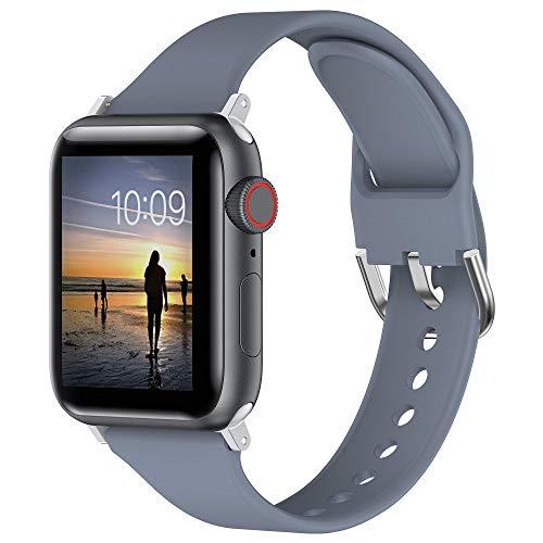 Glebo Armband Kompatibel mit Apple Watch Bands 38mm 40mm für Damen Herren,Weich Silicone Schlank Sportarmbänder Smartwatch Ersatzarmbänder für iWatch Series 6 5 4 3 2 1 SE, Blau Grau/Klein