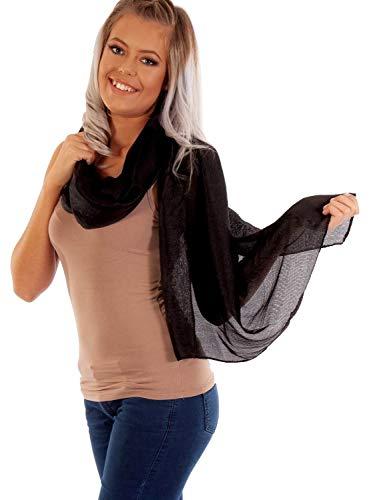 DOLCE ABBRACCIO by RiemTEX ® Schal Damen PRIMA DONNA Stola Tuch aus Wildseide in Schwarz Tücher in 31 Unifarben Halstücher Seidentuch Schals Damen Halstuch Seidenschal (Schwarz)