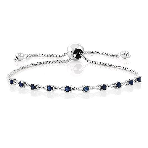 Gem Stone King 925 Sterling Silver Created Blue Sapphire Fully Adjustable Tennis Infinity Bracelet Gemstone Birthstone 0.50 Cttw Fits Up To 9inches Wrist