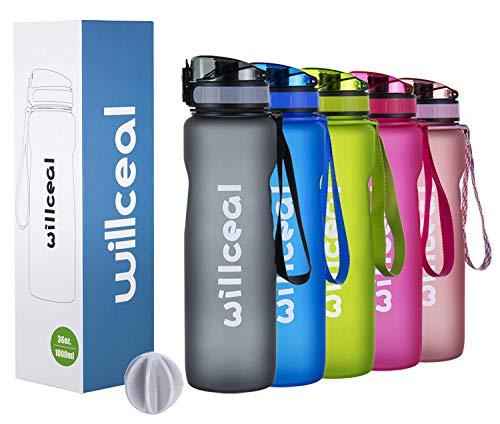 Sport Trinkflasche, BPA Frei Tritan, 1L (36oz), Premium Auslaufsicher Kunststoff Wasserflasche Sport, Sportflasche für Camping Freien, Radfahren, Wandern, Yoga, Gym und mehr (GREY, 1L)