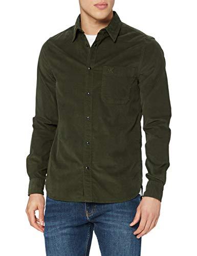 Calvin Klein Corduroy Slim Stretch Shirt Camicia, Deep Depths, M Uomo