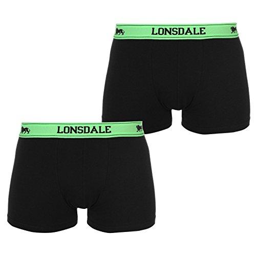 Lonsdale Herren 2 Paar Hipsters Trunk Boxer Shorts Unterhose Unterwaesche Schwarz X Large