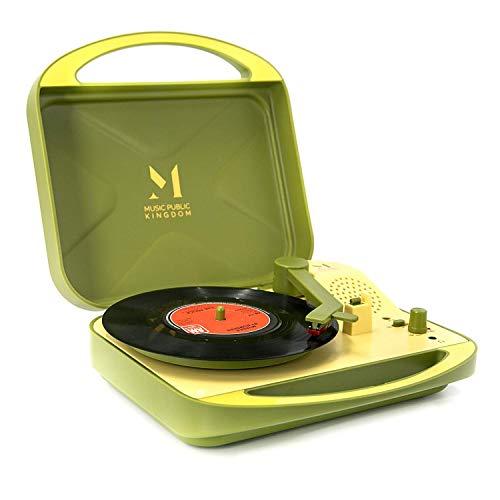 Plattenspieler, tragbarer Koffer, Plattenspieler für Vinyl-Schallplatten, Riemenantrieb, 2 Geschwindigkeiten, Stereo-Plattenspieler mit eingebauten Lautsprechern, unterstützt 3,5 mm AUX