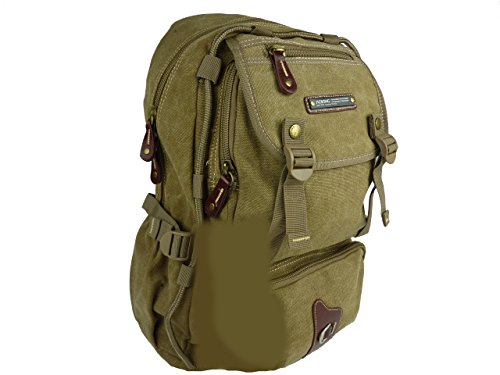 AOKING Zaino da trekking 35 l Outdoor Canvas Denim Backpack Uomo Donna Unisex 32 X 48 X 22, Marrone/Cammello (Marrone) - T115