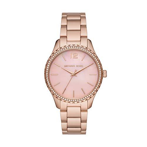 Michael Kors Women's Layton Quartz Watch with Stainless Steel Strap, Pink, 18 (Model: MK6848)