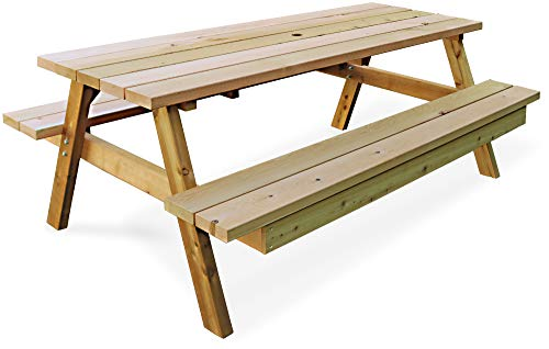 ガーデンガーデン 日本製 高耐候性 レッドシダー ピクニックテーブル 6人がけベンチセット 幅180cm パラソル穴付 カナダ産米杉 OHPM-106
