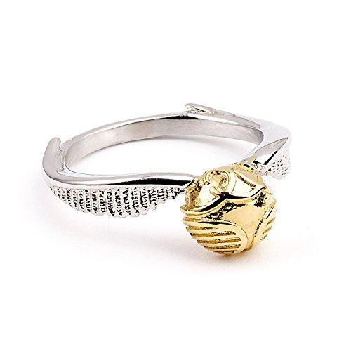 Harry Potter Ring Golden Snitch S silberfarben/goldfarben, aus Metall, in Geschenkverpackung.