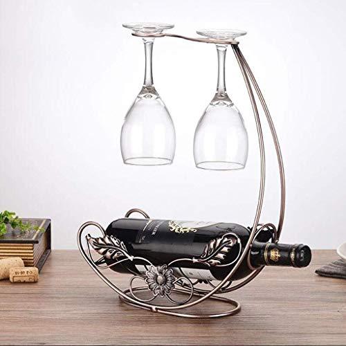 HJXSXHZ366 Estante de vino montado en la pared Estante de metal para forjar/exhibición de la mesa Artesanía titular de la botella/estante de vino 24 × 12 × 38 cm pequeño estante de vino (Color: B)