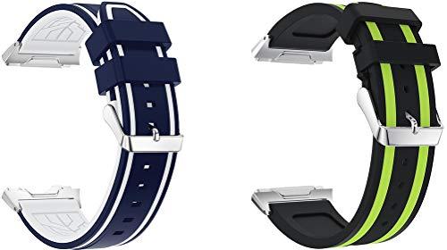 Abasic Bandas de Repuesto Compatible con Fitbit Ionic, Reloj Correa de Silicona Suave Correas Pulseras Correa Deportiva Pulsera (2PCS E)