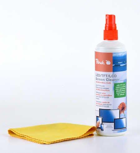 Peach PA104 Bildschirmreinigungsspray | Reinigungsspray + Mikrofasertuch | 250 ml | wirkt antistatisch