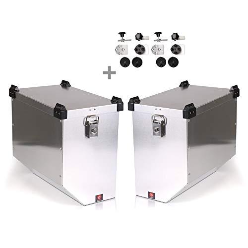 Maletas Laterales Aluminio para Suzuki V-Strom 1000/650 XT/ 250 Atlas 41l con Kit de Montaje de portamaletas 18mm