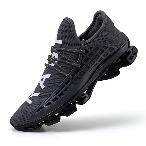 CAGAYA Sportschuhe Herren Laufschuhe Sneaker Mesh Atmungsaktive Sport Damen Turnschuhe Freizeitschuhe Schuhe größe 36-48 (43 EU, Grau)