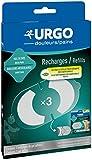 Urgo - Recambios de electroterapia recargables, gel adhesivo, dolor de espalda, pack de 3 recambios
