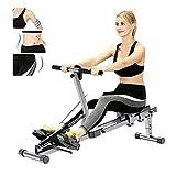 HZZ MáQuina De Remo para Ejercicios De Remo En Interiores Aparato De Fitness para Casa Fitness para Casa Plegablerowing Machine